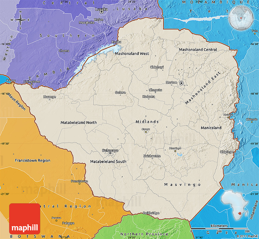 Shaded Relief Map of Zimbabwe political shades outside