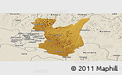 Physical Panoramic Map of Goromonzi, shaded relief outside