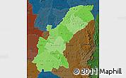 Political Shades Map of Mashonaland East, darken