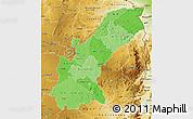 Political Shades Map of Mashonaland East, physical outside