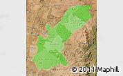 Political Shades Map of Mashonaland East, satellite outside