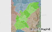 Political Shades Map of Mashonaland East, semi-desaturated