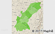 Political Shades Map of Mashonaland East, shaded relief outside