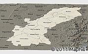 Shaded Relief Panoramic Map of Mashonaland East, darken