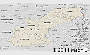 Shaded Relief Panoramic Map of Mashonaland East, desaturated