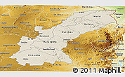 Shaded Relief Panoramic Map of Mashonaland East, physical outside