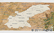 Shaded Relief Panoramic Map of Mashonaland East, satellite outside