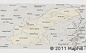 Shaded Relief Panoramic Map of Mashonaland East, semi-desaturated