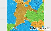 Physical Map of Seke, political outside