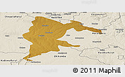 Physical Panoramic Map of Seke, shaded relief outside