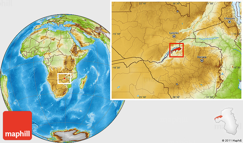 Physical Location Map of Lake Kariba
