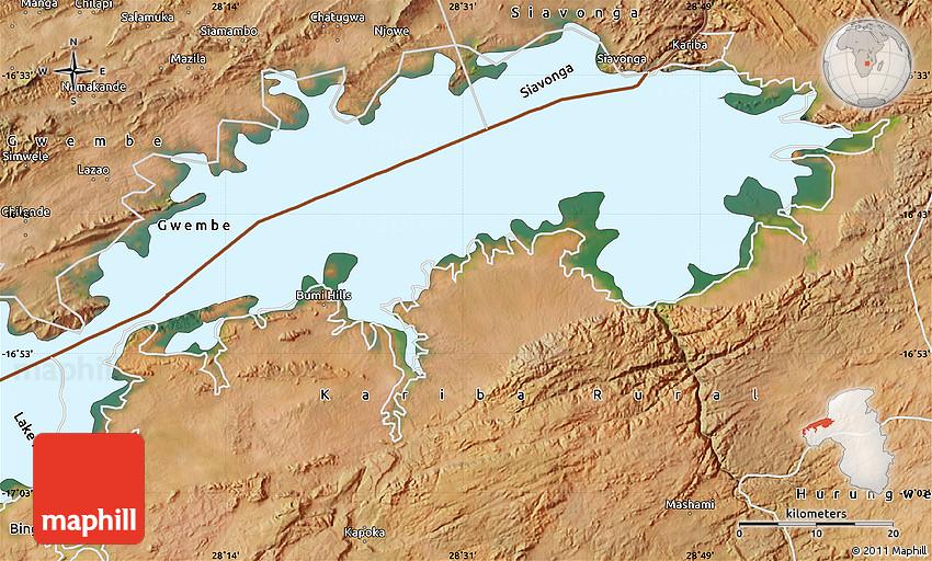 Lake Kariba Africa Map.Satellite Map Of Lake Kariba