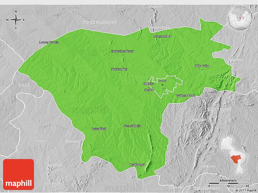 Political 3D Map of Gweru Rural lighten desaturated