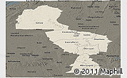 Shaded Relief Panoramic Map of Midlands, darken