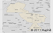 Shaded Relief Panoramic Map of Midlands, desaturated