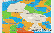 Shaded Relief Panoramic Map of Midlands, political outside