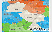Shaded Relief Panoramic Map of Midlands, political shades outside