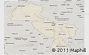 Shaded Relief Panoramic Map of Midlands, semi-desaturated