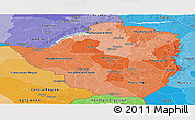 Political Shades Panoramic Map of Zimbabwe