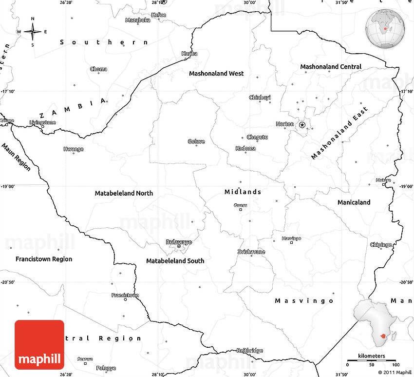 Blank Simple Map of Zimbabwe