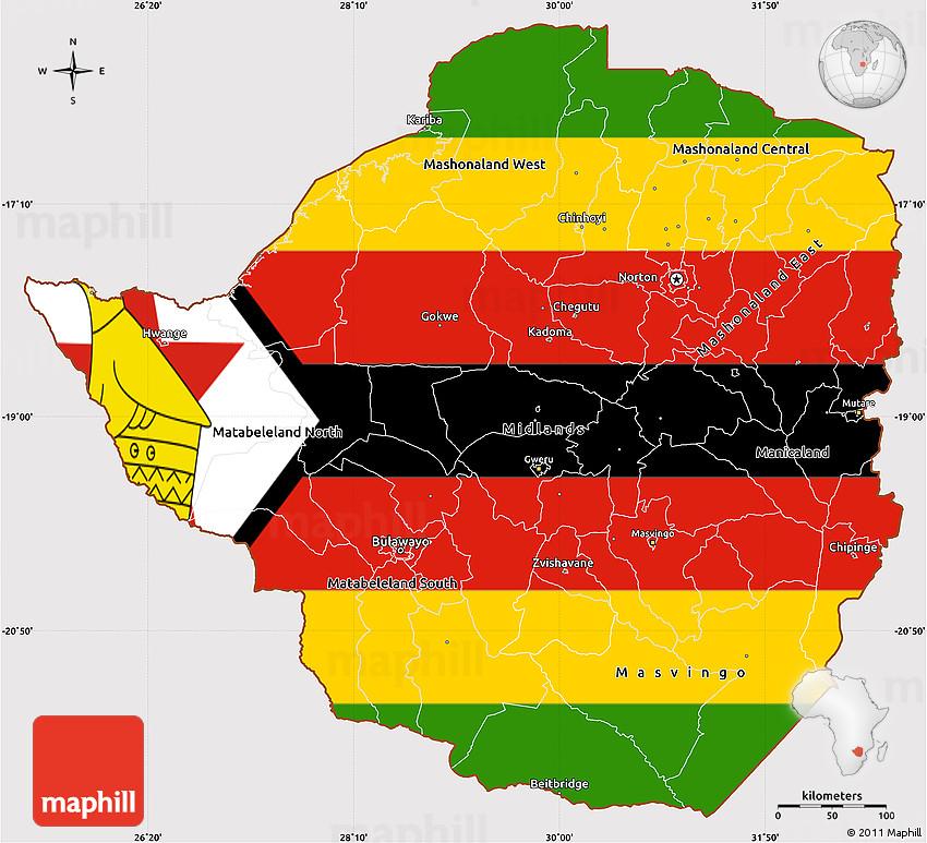 Flag Simple Map of Zimbabwe on